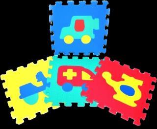 WIKY Pěnové puzzle Dopravní prostředky 10 ks mix barev