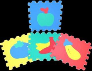 WIKY Pěnové puzzle Ovoce 10 ks – 2 druhy mix barev