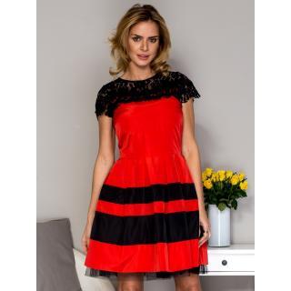 Women´s dress with lace and red sequin trim dámské Neurčeno 36