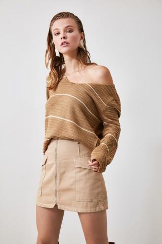 Women's sweater Trendyol Striped dámské Camel S