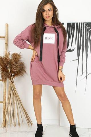 Womens BASIC STREET dress / sweatshirt / tunic pink BY0621 dámské Neurčeno One size