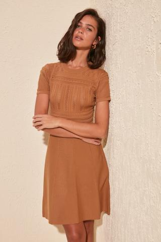 Womens dress Trendyol Woven detailed dámské Camel S