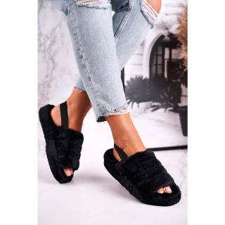 Womens Furry Slippers on the Platform Black Snowflake dámské Neurčeno 37