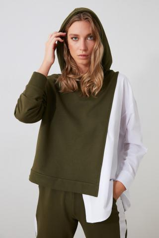 Womens hoodie Trendyol Basic dámské Khaki XS