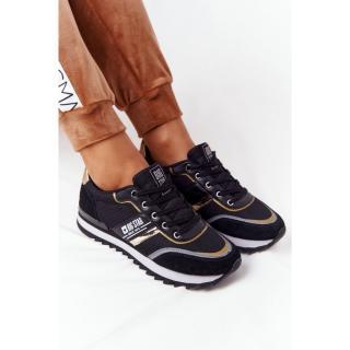 Womens Sneakers Memory Foam Big Star HH274272 Black-Gold dámské Neurčeno 39