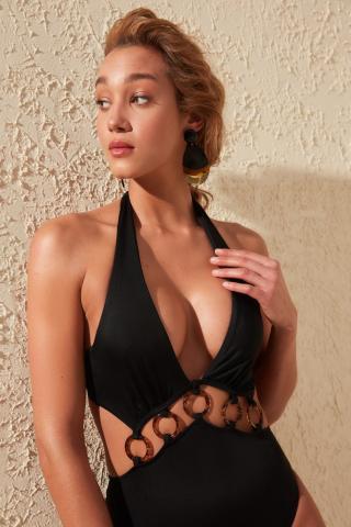 Womens swimsuit Trendyol Ring Accessory dámské Black 34