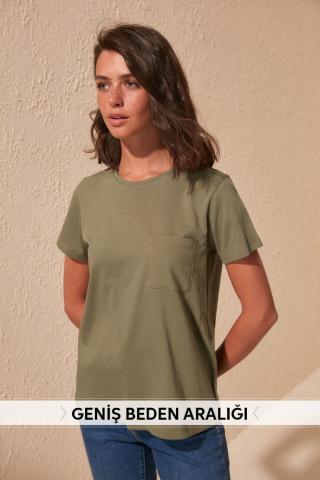 Womens T-shirt Trendyol Basic dámské Khaki S