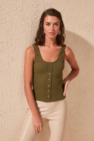 Womens tank top Trendyol Button Detailed dámské Khaki S
