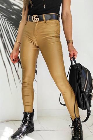 Womens waxed Slim Fit pants MARCI camel UY0602 dámské Neurčeno S