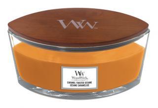 WoodWick vonná svíčka Caramel Toasted Sesame loď oranžová