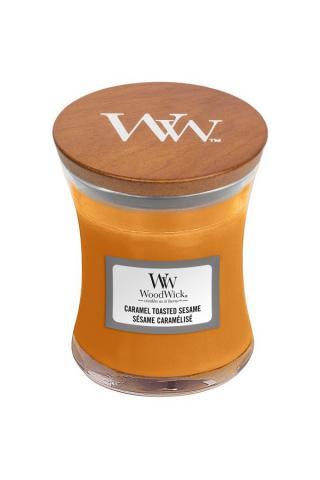 WoodWick vonná svíčka Caramel Toasted Sesame malá váza oranžová