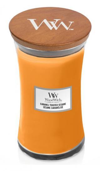 WoodWick vonná svíčka Caramel Toasted Sesame velká váza oranžová