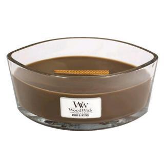 WoodWick Vonná svíčka loď Amber & Incense 453,6 g - SLEVA - poškozené víčko   vosk
