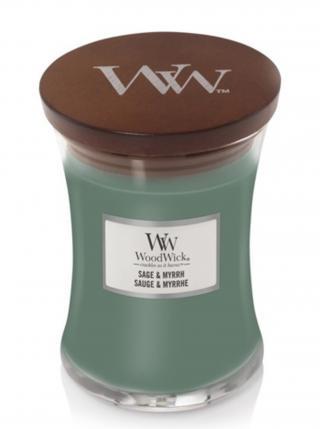 WoodWick vonná svíčka Sage & Myrth střední váza zelená