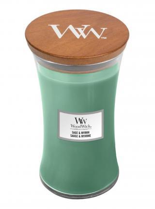 WoodWick vonná svíčka Sage & Myrth velká váza zelená