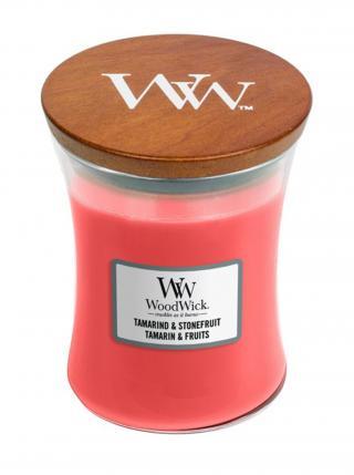 WoodWick vonná svíčka Tamarind & Stonefruit střední váza růžová