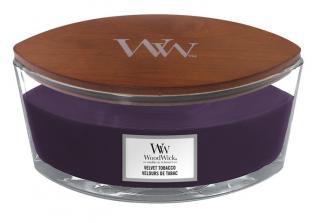 WoodWick vonná svíčka Velvet Tobacco loď fialová
