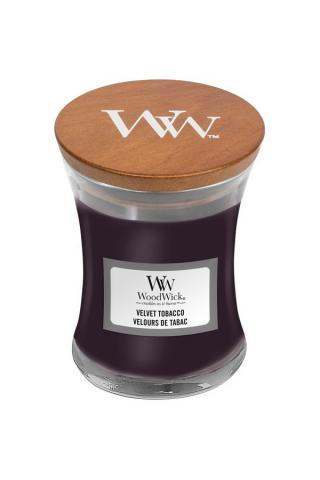 WoodWick vonná svíčka Velvet Tobacco malá váza fialová