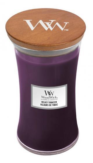 WoodWick vonná svíčka Velvet Tobacco velká váza fialová