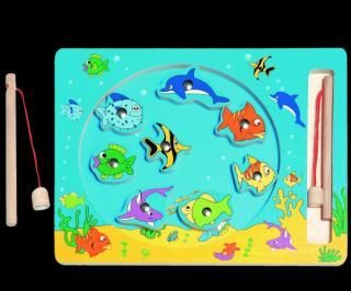 WOODY Kruh Rybolov - magnetická hra mix barev