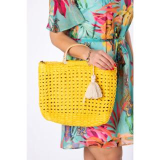woven handbag with wooden handles dámské Other One size