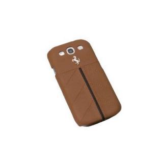 Zadní kožený kryt Ferrari pro Samsung Galaxy SIII, brown