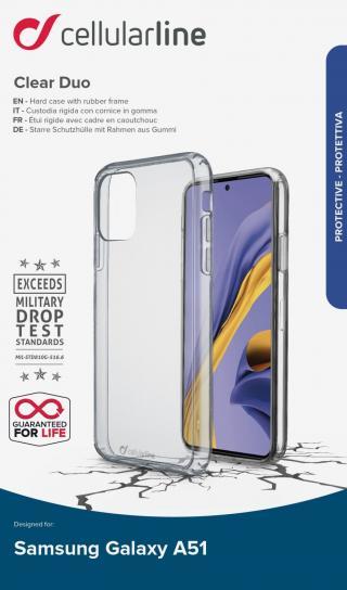 Zadní kryt Cellularline Clear Duo pro Samsung Galaxy A51, čirý