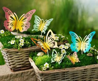 Zápich motýli, sada 6 ks