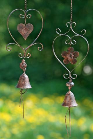Závěsná dekorace srdce se zvonkem, sada 2 ks