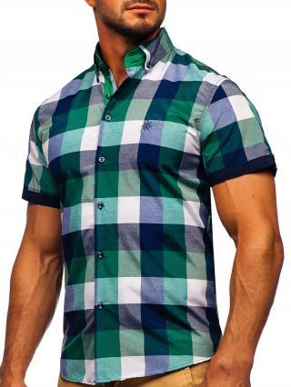 Zelená pánská kostkovaná košile s krátkým rukávem Bolf 5522 L