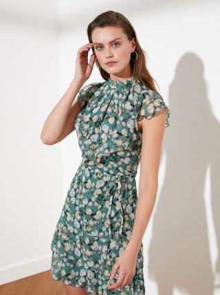 Zelené květované šaty s volány Trendyol dámské zelená XL