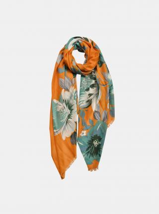 Zeleno-oranžový květovaný šátek Clayre & Eef dámské oranžová