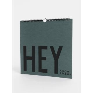 Zelený nástěnný kalendář se samolepkami Design Letters 2020 Zelená One size
