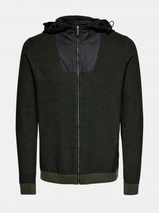 Zelený svetr na zip ONLY & SONS pánské zelená XXL