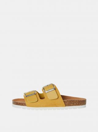 Žluté kožené pantofle VERO MODA Carla dámské žlutá 36