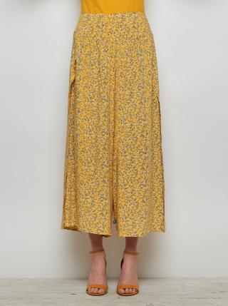 Žluté květované volné kalhoty s rozparky Tranquillo dámské žlutá XL