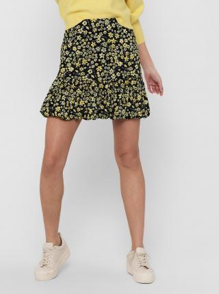 Žluto-černá květovaná sukně ONLY Pella dámské XL