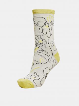 Žluto-krémové vzorované ponožky Selected Femme Vida dámské krémová ONE SIZE