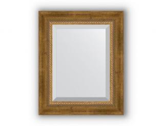 Zrcadlo s fazetou, patinovaný bronz s krouceným detailem, 63x93 bronzová-Oranžová